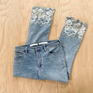 Womens PILCRO Letterpress Anthropologie High Rise Bootcut Floral Hem Jeans 31